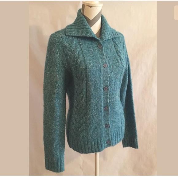 98296a59b3 L.L. Bean Sweaters - LL BEAN Wool Cardigan Sweater L Blue Long Sleeve